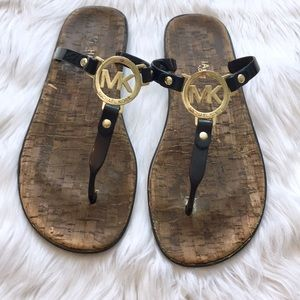 Michael Kors Gold Logo Thong Sandals